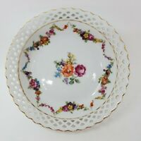 Vintage Dresden Floral Porcelain Dish Bowl Wave edge Reticulated Pierced Germany
