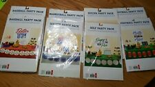 Sports Party Packs NIP 8 Football Baseball Golf Soccer Basketball Hockey Birthdy