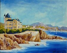 "Tableau original de NCBEAUVERGER 40X30 cm "" Biarritz "" aquitaine oil on canva"