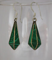 Asian sterling silver brass earrings malachite stone handmade hook tops GLE4