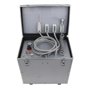 Portable Dental Unit Metal Mobile Case 4 Holes +Built-in Oilless Compressor 110V