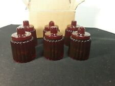 6 Vintage Ruby Red Votive Candle Holders Candlestick Inserts NEW