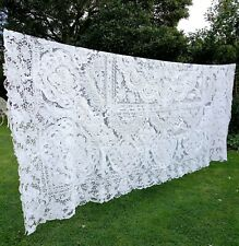 More details for large vintage cutwork lace and embroidery tablecloth, 2.60 m x 2.40 m