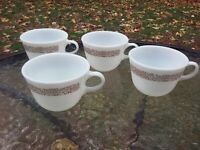 Vtg Pyrex Woodland Brown Coffee Tea Cup Mug Set Of 4 Corelle Corning Pattern