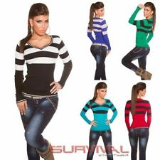 V-Neck Hand-wash Only Thin Knit Striped Jumpers & Cardigans for Women