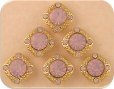 2 Hole Beads Stardust Crystal GALA Pink Opal Swarovski Elements GOLD Metal QTY 6