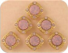 2 Hole Beads Crystal GALA 8mm Pink Opal Swarovski Elements ~ GOLD Sliders QTY 6