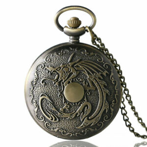Cool Monster 3D Fire Dragon Unisex Quartz Pocket Watch Pendant Necklace Chain