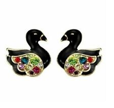 E185 BETSEY JOHNSON Technicolour Crystal White Black Swan Cygnet Earrings UK