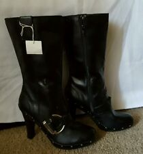women's black tall buckle boots size 8