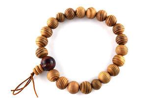 13mm Yakusugi Cedar Wood Red Tiger eye Beads Bracelet Japanese Juzu Mala Beads