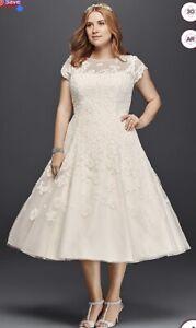 Oleg Cassini: Tea length, Cap Sleeve, Lace, Wedding Gown - Size 12