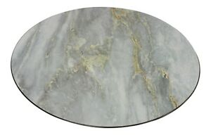 Set of 4 Marble Effect Grey Plastic 33cm Round Charger Plates Under Plates