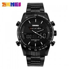 SKMEI Gents  Dual Time Backlit Stopwatch Date Alarm Day Stainless Steel Watch