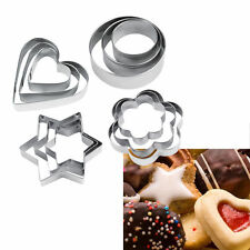 12pcs Stainless Steel Cookie Biscuit DIY Mold Star Heart Cutter Baking Mould A&@