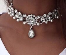 CRYSTAL RHINESTONE CHOKER COLLAR CHUNKY STATEMENT BIB PEARL NECKLACE JEWELRY UK