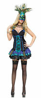 Fun World Women's Sexy Midnight Peacock Adult Costume Dress and Mask Size XS 2-4