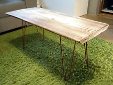 Coffee table with solid wood brushed-burned desk and rusty legs