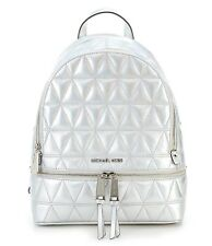 NWT MICHAEL Michael Kors Rhea Zip Metallic Silver Medium Size Leather Backpack