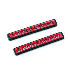 2x Matte Black Red Metal LIMITED EDITION Side Fender Logo Badge Car Trunk Emblem