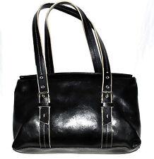 Kenneth Cole Reaction Black Faux Leather Shoulder Bag with Adjustable Straps