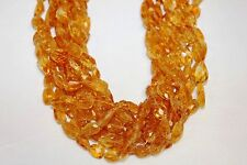 """Genuine Stone - CITRINE - Faceted Nuggets - 14 to 15"""" Long Strand"""