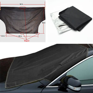 Black Car Snow Protect Cover Magnet Windshield Frost Protector Tarp Sun Shield