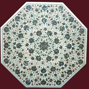 30 Inch Marble Dining Table Top Abalone Shell Inlaid Work Hallway Table for Home