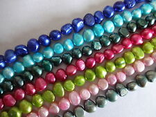 1str freshwater pearl nuggets 7.5mm- 9mm Peacock Blue Pink Cream Turquoise Green