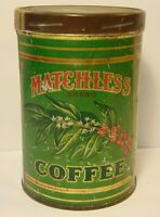 Old Vintage 1930s MATCHLESS GRAPHIC COFFEE TIN ONE POUND BOSTON MASSACHUSETTS MA
