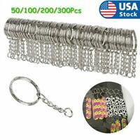 50-300pcs Silver Keyring Blanks Tone Key Chains Split Rings For Link Chain