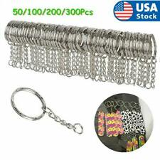 50-300pcs Silver Keyring Blanks Tone Key Chains Split Rings For Link Chain