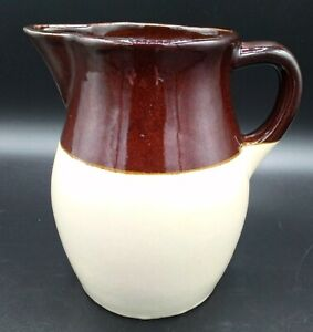 """Roseville Pottery RRP Stoneware Pitcher ~ Brown Beige 6"""" ~ Holds 32 ounces ~ USA"""