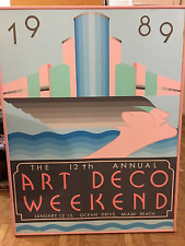 ORIGINAL 1989 POSTER -- ART DECO WEEKEND -- MIAMI BEACH -- NOT THE WINNING ENTRY