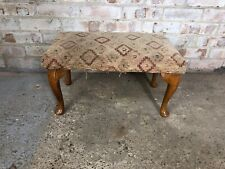 Vintage footstool with Queen Anne Legs and Fabric Cushion