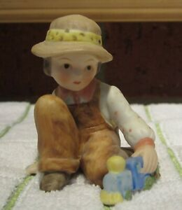 Vintage Holly Hobbie Figurine Boy And His Train * Boy In Coveralls & Hat * Sweet