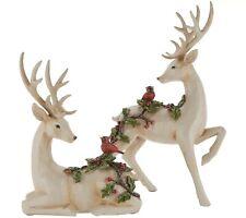 Valerie Parr Hill Set of 2 Deer Figurines with Embossed Cardinals