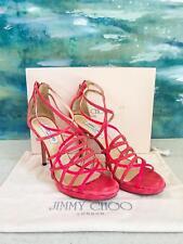 $895 JIMMY CHOO Pink Suede Patent Leather Mandie Sandals Heels Woman's Sz 41