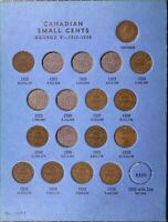 Canada Small Cents 45 Different in Blue Folder Starter Set Old small 1920-1967