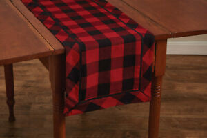 Red Black Buffalo Check Backed Cotton Country Farmhouse Table Runner