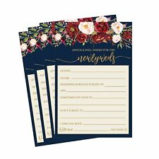 50 4x6 Navy Floral Wedding Advice & Well Wishes For The Bride and Groom...