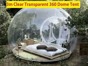 Inflatable Bubble 3m Clear Transparent 360°Dome Air Blower Camping Tent Capsule