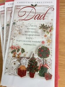 Beautiful Quality Dad Christmas Card With Lovely Words. 12x23 Cm Approx