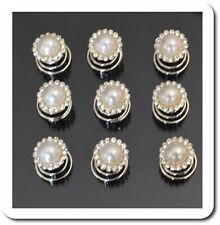 Set 10 Curlies Haarspiralen Perlen Imität  Kristall Spiralhaar Braut Weiß