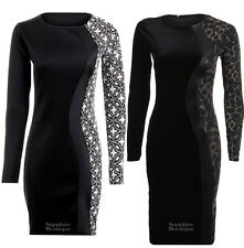 Ladies Velvet Lurex Long Sleeve Floral Tiger Print Contrast Bodycon Womens Dress