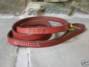 Leather Dog Leash Lead Personalized FREE Amish Made 5' Custom Name