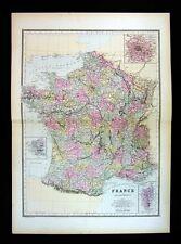 1887 Bradley Map - France - Paris Plan Marseilles Honfleur Calais Laon Chartres