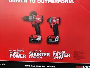 Milwaukee 2997-22 M18 Hammer Drill & Impact Driver Combo Kit w/(2) 5Ah PACKS!