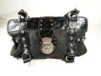GUESS Vintage Black Faux Leather W/ Silver Studs Magnetic Clasp Medium Tote Bag
