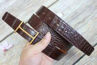 Women Men Belt Genuine Crocodile Alligator Skin Leather Belt Handmade Brown